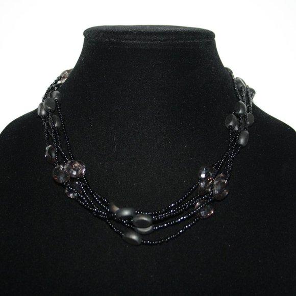 Beautiful black layered beaded necklace